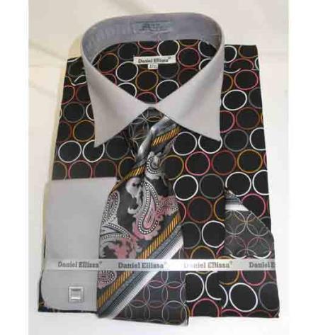Black Grey 100% Cotton Circle Multi Pattern French Cuff Men's Dress Shirt