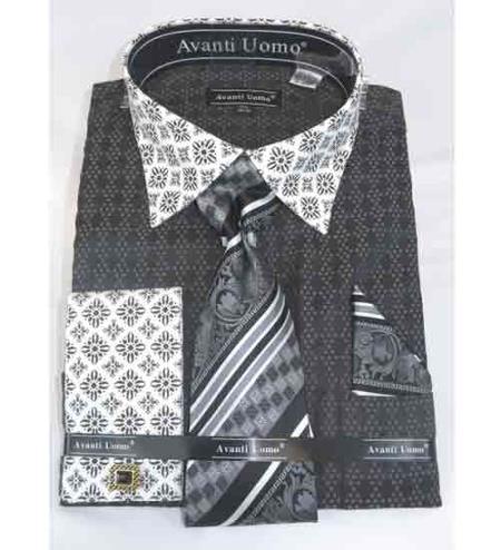 French Cuff With Contrasting Collar Bird Pattern Black Men's Dress Shirt