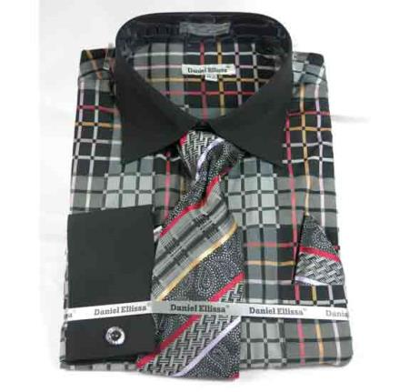 Mens French Cuff Window Pane Pattern With Collar Black Dress Shirt
