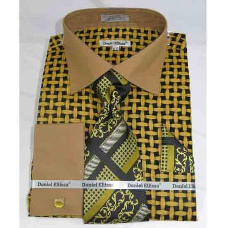 French Cuff Large Basket Weave Pattern Black Mustard Men's Dress Shirt
