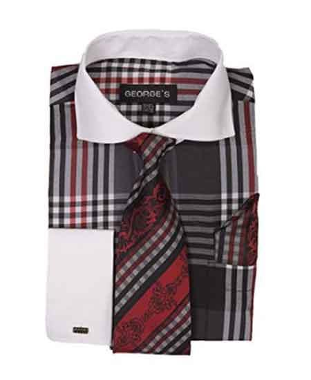 Black Long Sleeve White Collar Two Toned Contrast Plaid Window Pane Pattern Tie Set French Cuffed Mens Dress Shirt
