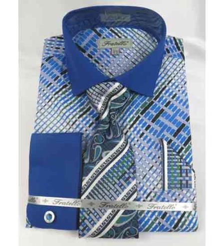 Geometric Multi Pattern French Cuff With Collar Cotton Blue Men's Dress Shirt