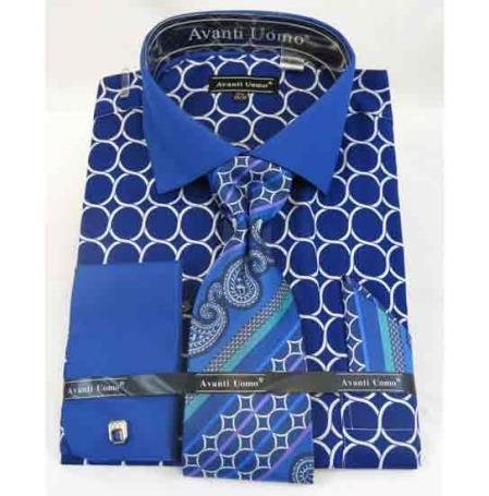 French Cuff With Collar Interlocking Ring Blue Cotton Men's Dress Shirt