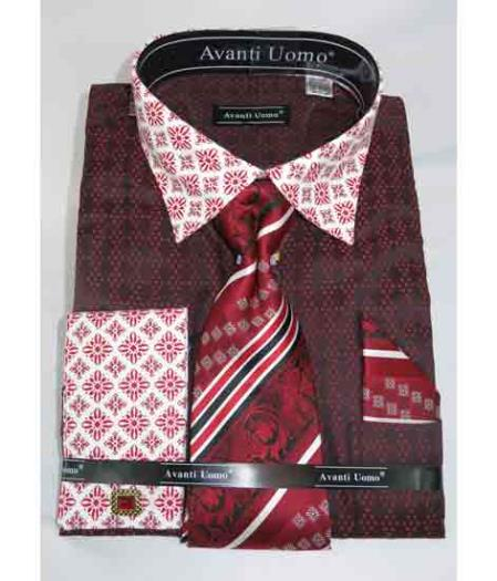Red Burgundy ~ Wine ~ Maroon Color French Cuff With Contrasting Collar Bird Pattern Men's Dress Shirt