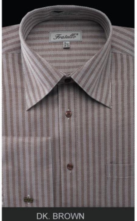 Fratello French Cuff Dark Brown - Herringbone Tweed Stripe Big and Tall Sizes 18 19 20 21 22 Inch Neck Mens Dress Shirt