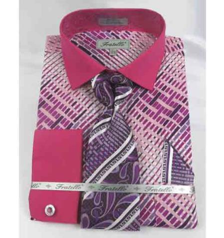 Cotton Geometric Multi Pattern Fuschia French Cuff With Collar Men's Dress Shirt