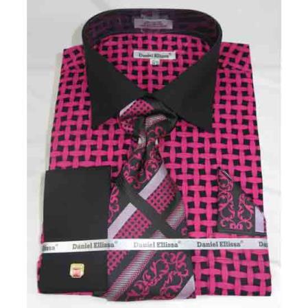 French Cuff Black Fuschia Large Basket Weave Pattern Men's Dress Shirt