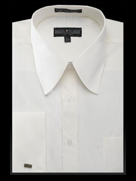 NTDS3008 Best Cheap Priced Designer Sale Curved Pat Riley Collar Solid Ivory French Cuff Mens Dress Shirt