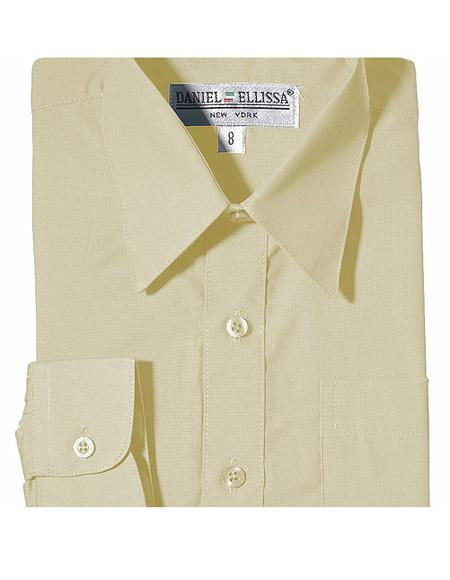 Boys Daniel Ellissa One Chest Pocket French Cuff Ivory Dress Shirt