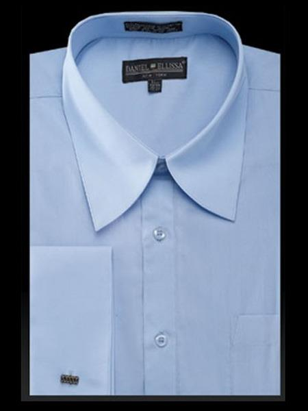 Light Blue Curved Pat Riley Collar Mens Dress Shirt