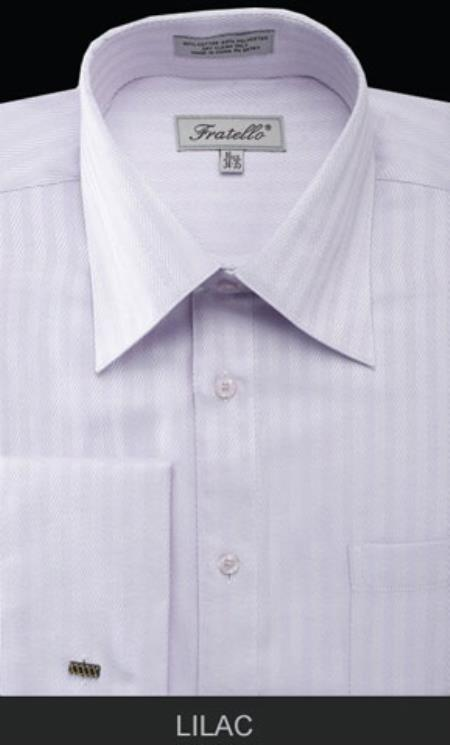 Fratello French Cuff Lilac  - Herringbone Tweed Stripe Big and Tall Sizes 18 19 20 21 22 Inch Neck Mens Dress Shirt