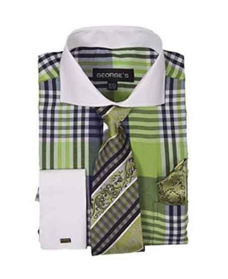 Buy SM1960 Men's Plaid Window Pane Pattern Long Sleeve White Collar Two Toned Contrast Tie Set French Cuffed Lime Dress Shirt