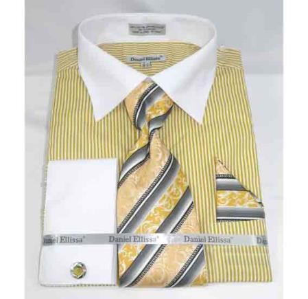 Pinstripe Pattern Mustard French Cuff With Collar Mens Dress Shirt