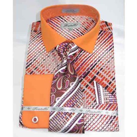 Geometric Multi Pattern Orange Cotton French Cuff With Collar Men's Dress Shirt