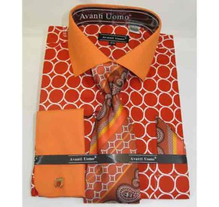 Men's Interlocking Ring Pattern French Cuff Orange Cotton Dress Shirt