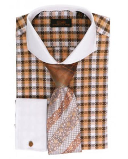 SS-GQ26 Mens Orange Pattern 100% Cotton Dress Shirt