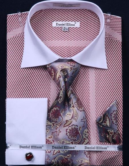 Buy CH465 Men's Stripe Two Tone French Cuff 100% Cotton Fashion Pink Shirt Tie & Hanky Set