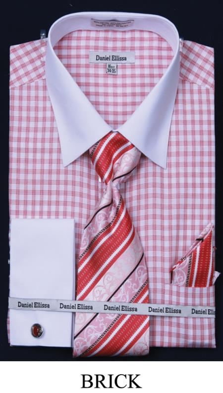 Buy 7P7B Men's French Cuff Dress Shirt - Two Tone Stripe White Collar Two Toned Contrast copper brick
