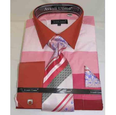 Cotton Colored Block Pattern Pink Multi French Cuff Men's Dress Shirt