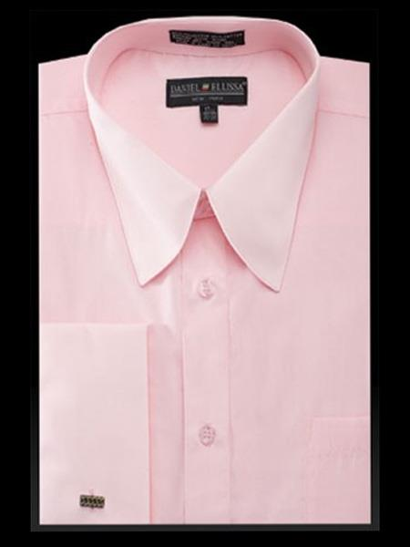 men's cotton solid pink curved pat riley collar french cuff dress shirt
