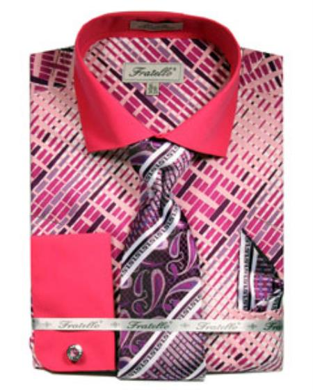 French Cuff Dress Fuchsia Pattern Shirts Tie Pink Color Set Mens Dress Shirt