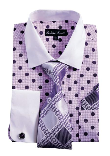 White Collared French Cuff Polka Dot Shirt with Tie, Handkerchief, Cufflinks Purple Mens Dress Shirt