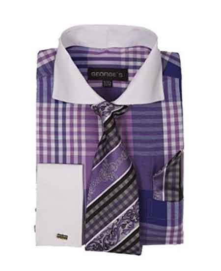 Buy SM1969 Men's Long Sleeve White Collar Two Toned Contrast Plaid Window Pane Pattern Dress Shirt Tie Set French Cuffed Purple