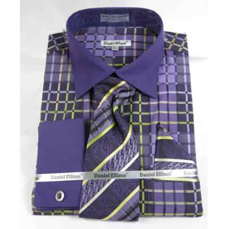 Purple French Cuff With Collar Window Pane Pattern Mens Dress Shirt