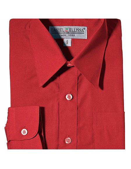 Boys Daniel Ellissa One Chest Pocket French Cuff Red Dress Shirt