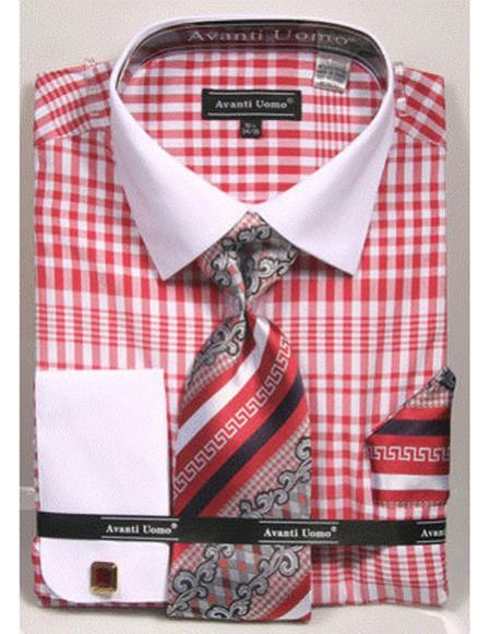 Mens Red and white Classic Fit Collared French Cuffed Shirt