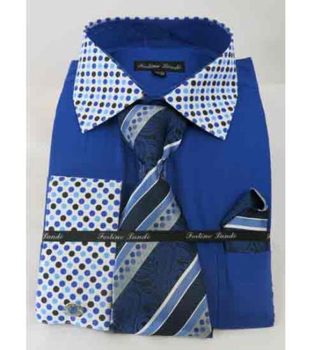 Royal Blue Solid Body With Poka-a-dot Collar French Cuff Mens Dress Shirt