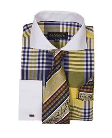 Long Sleeve White Collar Two Toned Contrast Gold Plaid Window Pane Pattern Tie Set French Cuffed Mens Dress Shirt