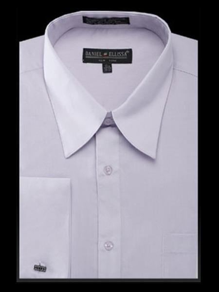 Mens Silver Curved Pat Riley Collar Dress Shirt