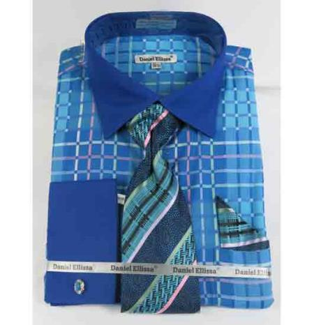 Turquoise Blue Window Pane Pattern French Cuff With Collar Men's Dress Shirt