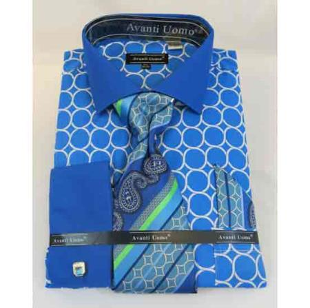 Interlocking Ring Pattern Cotton Turquoise French Cuff Men's Dress Shirt