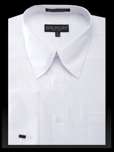 NTDS3008 Best Cheap Priced Designer Sale Cotton Curved Pat Riley Collar French Cuff Solid White Men's Dress Shirt