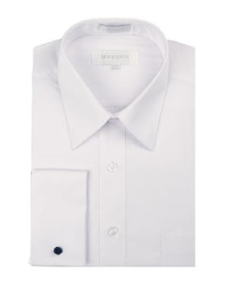 White Pointed Collar French Cuff Men's Dress Shirt