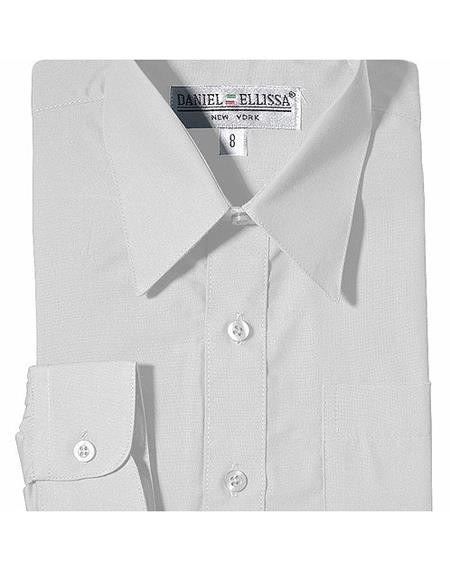 Boys Daniel Ellissa One Chest Pocket French Cuff White Dress Shirt