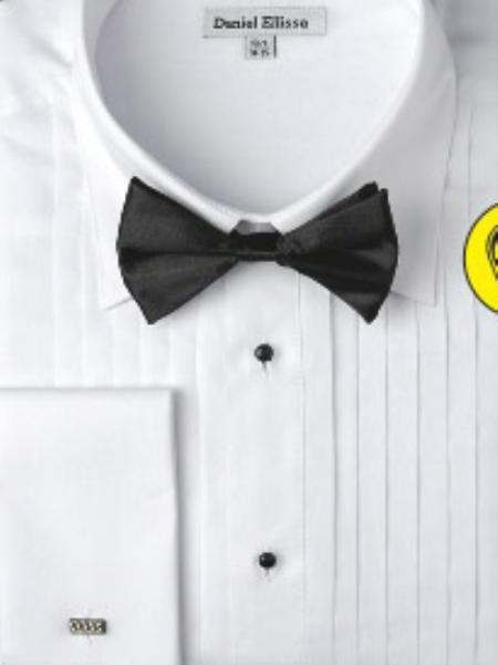 SKU#EM312 Mens White Formal French Cuff Tuxedo Shirt with Bow Tie
