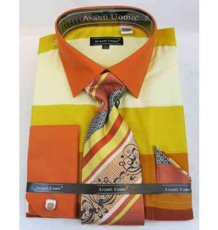 Men's French Cuff Cotton Colored Block Pattern Yellow Multi Dress Shirt