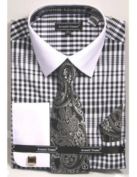 white Collared French Cuffed black Shirt with Tie/Hanky/Cufflink Set Men's Dress Shirt
