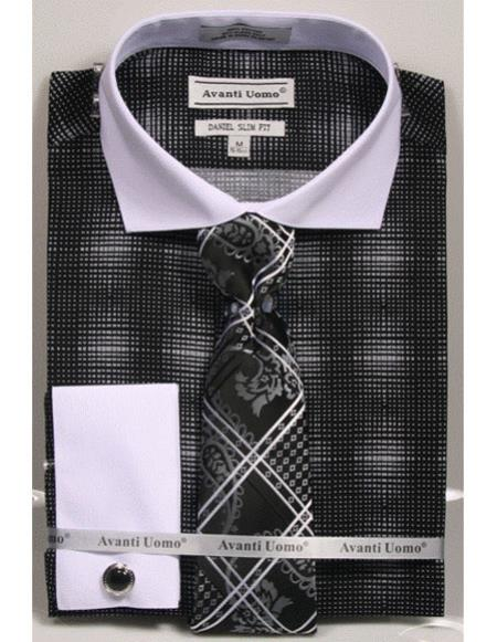 Mens Black woven design white Collared French Cuffed Slim Fit Dress Shirt