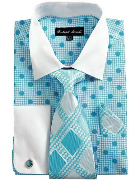 Buy CH2221 Mens White Collared French Cuffed Blue Dress Shirt & Tie Set