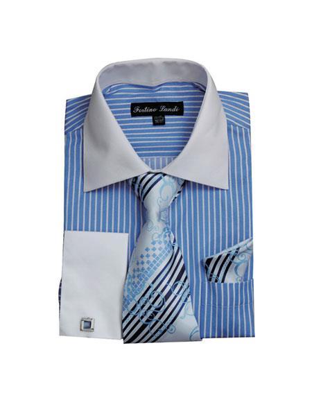 White Collared French Cuffed Shirt & Tie Set Blue Men's Dress Shirt