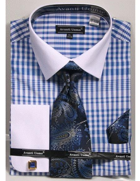 Buy CH2287 Mens white Collared French Cuffed Blue Dress Shirt Tie/Hanky/Cufflink Set