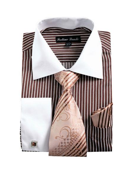 Buy CH2224 Mens White Collared French Cuffed Brown Dress Shirt & Tie Set