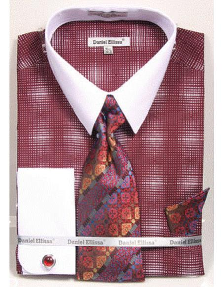white Collared French Cuffed Burgundy ~ Wine ~ Maroon Color woven design Shirt with Tie/Hanky/Cufflink Set Mens Dress Shirt