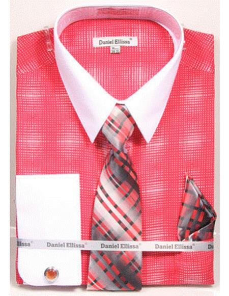 white Collared French Cuffed Salmon ~ coral color woven design Shirt with Tie/Hanky/Cufflink Men's Dress Shirt