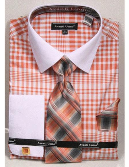 white Collared French Cuffed Salmon ~ Coral color Shirt with Tie/Hanky/Cufflink Set Men's Dress Shirt