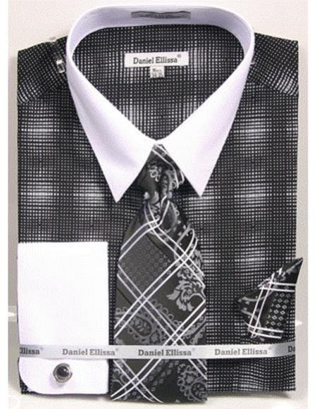 Mens white Collared French Cuffed Black woven design Dress Shirt with Tie/Hanky/Cufflink Set
